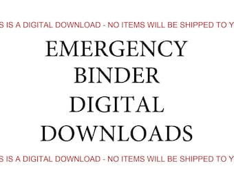 Emergency Binder Contents, Digital Download