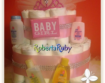 Bling Pink Princess Diaper Cake