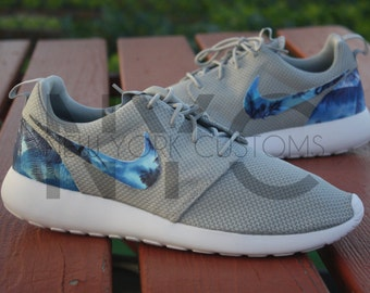 """Nike Roshe Run One Grey """"Blue Palm Trees"""" Custom"""