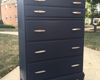 SOLD- Tall Dark Denim Dresser