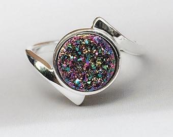 Druzy Ring,Drusy Ring,Druzy Quartz,Agate Ring,Stone ring,Gemstone ring,Sparkle ring,Stacking,drusy,Druzy,Silver ring,Sterling925