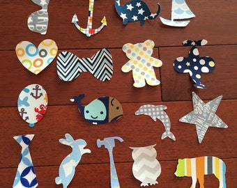 Iron On fabric Applique for baby shower activity, decorating station for bodysuits, bibs, etc. for Baby Boy