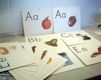 "Vintage Alphabet Poster Cards Alphabet Letter Art 1963 Milton Bradley 11.5"" x 14"" Choice Of One Card-A-Z Vintage Kids Room Nursery Decor"