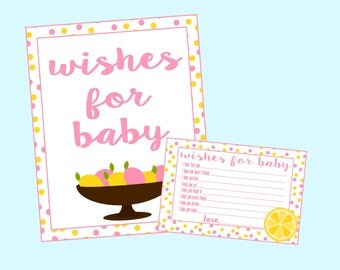 Wishes for Baby Cards for Pink Lemonade Baby Shower. Inclues cards and 8x10 sign. Instant Digital Download