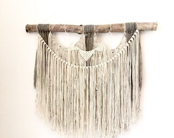 "XL Macrame wall hanging on thick birch. Wall hanging, wool, cotton on birch. 35"" x 35"" (89cm x 89cm) #77"