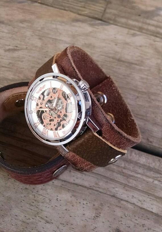 Mens Western Leather Cuff Watch