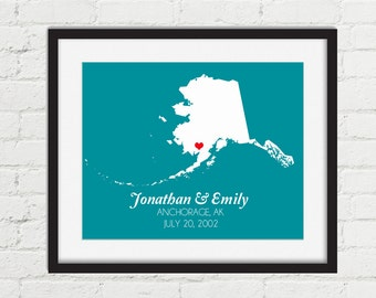 Alaska Map Print- Custom Wedding Gift - Alaska Couples Gift Map - Couples Map Art Valentine's Day Gift Idea Alaska Wedding Gift