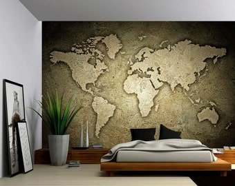 Map Mural Etsy - Large sepia world map