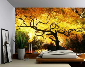 Maple Tree - Large Wall Mural, Self-adhesive Vinyl Wallpaper, Peel & Stick fabric wall decal
