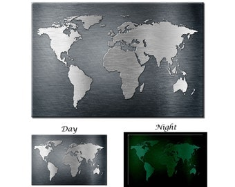 Glow in the Dark Canvas Wall Art - Metal Texture World Map Canvs Art - Ready to Hang