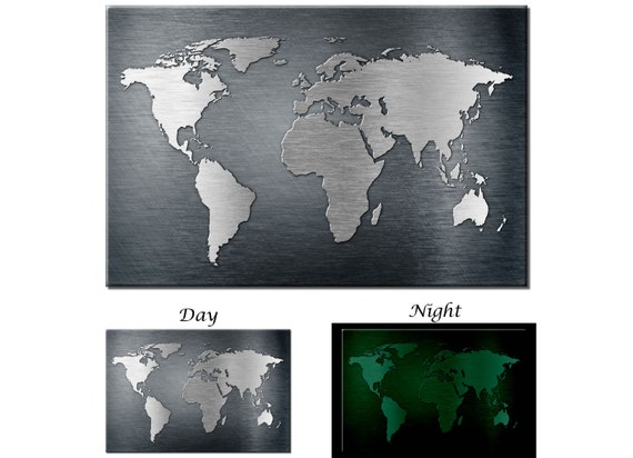 Glow in the dark canvas wall art metal texture world map like this item gumiabroncs Gallery