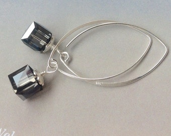 Smoky AB Cube Swarovski Crystal Earrings with Sterling Silver Ear Wires  - crystal earrings, Swarovski smoky AB crystal earrings