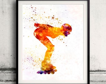 Woman roller skater inline 09 - Fine Art Print Glicee Poster Home Watercolor sports Gift Room Children's Illustration Wall - SKU 2259