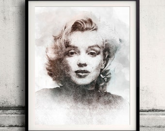 Marilyn Monroe portrait 04 in pen & watercolor - Fine Art Print Glicee Poster Gift Illustration Artist Poster - SKU 2150