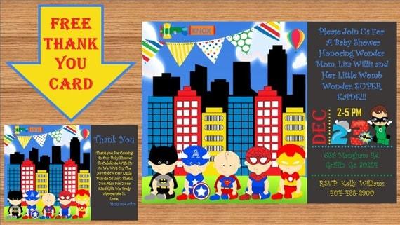 baby shower thank you card super man baby super hero avenger baby