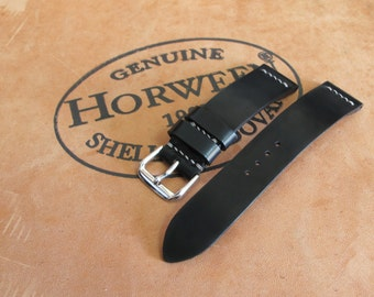 Horween Shell Cordovan Watch Strap | Minimalist Two Piece Watch Strap | Unlined Watch Strap | 18mm 20mm 22mm 24mm