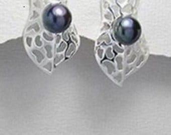 Pearl Earrings, Leaf design grey fresh water pearl earrings in 92.5 sterling silver