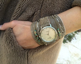 Women Watch with Charms and Turquoise Beads-Women Watches-Wrap Watch-Unique Womens Watches-Womens Watches-Wrap Watches-Leather Wrap Watch