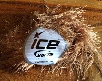 ICE  long eyelash light brown yarn ice yarn eyelash blend