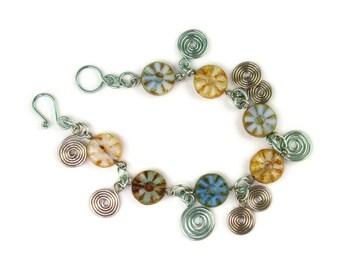 Blue Warm White Cape Cod colors Czech glass and wirework bracelet.