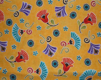 Madeline by Blank Quilting.  Madeline 6626 Dijon fabric.  Dark yellow with whimsical flowers.  100% cotton.  Sold in 1/2  yard units.