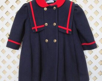 ROTHSCHILD Dressсoat Coat Size: 3 Toddler Girls Nautical Sailor Trim Wool Blend Vintage