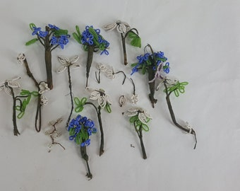 Small lot of beaded flower stems