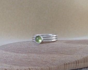 Peridot Sterling and Fine silver stacking ring set