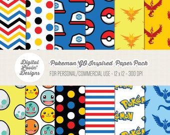 INSTANT DOWNLOAD - 12 Pokemon GO Digital Papers for Scrapbooking, Crafts, Invitations for Commercial and Personal Use