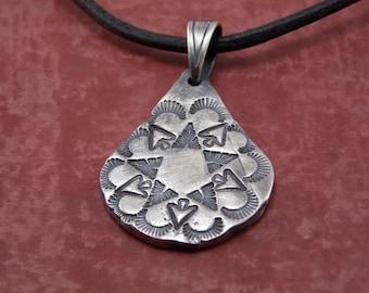 Antiqued Fine Silver star emblem Necklace