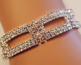 Wedding Geometric Austrian Crystal Braclet / Bridal Bracelet / Bridesmaid Bracelets