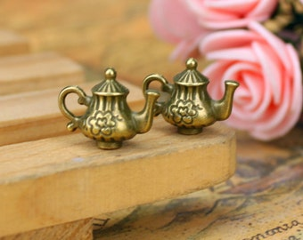 lead and nickel free---100pcs 12x15mm antiqued bronze filigree teapot/pot zinc alloy charms findings