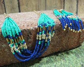 Southwestern Necklace - Western Necklace - Boho Necklace - Chain Necklace – Beaded Necklace - Turquoise Necklace – Gold Necklace