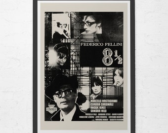 VINTAGE FILM POSTER -  Federico Fellini Movie Poster - 8 1/2 Movie Poster,  Classic Film Poster, Classic Movie Poster