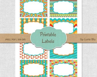 Printable Labels: Tribal patterns digital labels, printable frames, gift cards, buffet labels, storage labels, party labels, table numbers