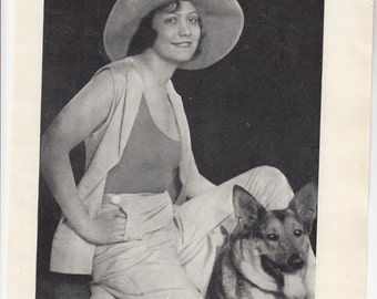 """The Hungarian Alsatian And Their Owner/Dog Print 1937/ 8."""" X 10.5"""""""