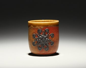 Red Patterned Yunomi Tea Cup
