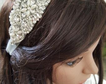 Bridal Headpiece, Wedding Headpiece, Wedding Tiara, Rhinestone Bridal Headband, Crystal Headband, Jeweled Wedding Headband