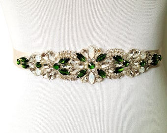 SALE Emerald Green Bridal Sash, Green Bridal Belt, Bridesmaid Sash, Bridesmaid Belt, Wedding Dress Sash,  Emerald Green Sash Belt Style 144