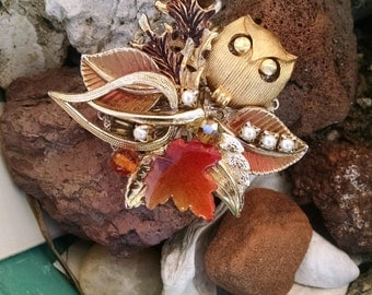 Vintage Assemblage Autumn Brooch...Statement Brooch..One of a Kind