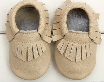 Beige baby moccasins, baby moccasins, leather moccasins, beige moccasins