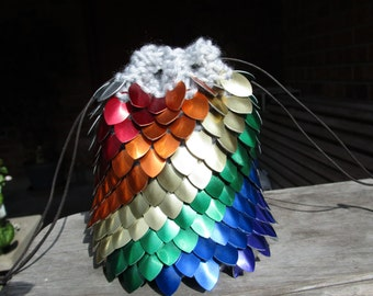 Rainbow Dragon Scale Dice Bag/ Knitted Scalemaille/ Scalemaille Dice Pouch/ Large Dice Bag