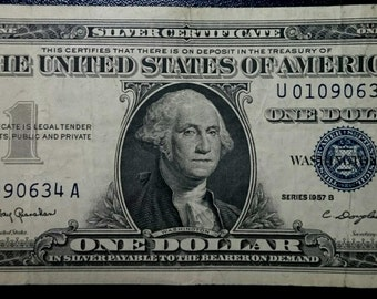 Vintage Antique circulated 1957 B silver certificate One Dollar Bill blue seal note united states banknote currency 1.00 Ship
