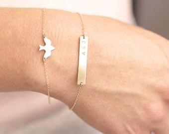 Stacking Bracelet Set, Delicate Layered Bracelet, Custom Name Bracelet,  Personalized Bracelet, Bar Bracelet, Gold Rose Gold Silver Bracelet