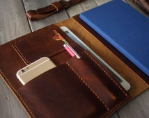 iPhone 7 Case iPad Mini Case Hand Stitched iphone Sleeve, Large Moleskine notebooks Cover Sleeve - Pen Sleeve, Conference Organizer