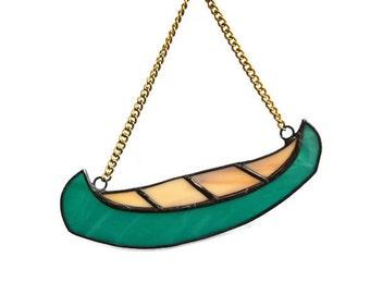 Canoe Ornament, Little Canoe, Stained Glass Teal Green Canoe, River Boat Decorative Canoe Decor, Canoe Art, Fathers gift, Sport Gift for him
