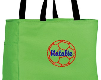 Personalized Tote Bag Embroidered Tote Bag Custom Tote Bag - Sports - Soccer - B0750