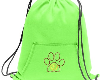 Sweatshirt material cinch bag with front pocket and embroidered spirit design - Cat Paw - Multiple Colors - Camouflage - BG614
