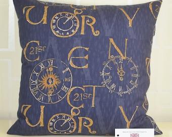 "Antique Clocks & Calligraphy 17"" x 17"" (43cm x 43cm) Cushion Cover 100% Cotton Blue Gold 21st Century Design"