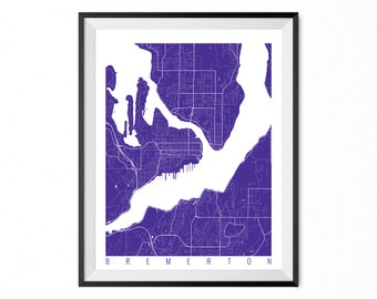 BREMERTON Map Art Print / Bremerton City Poster / Bremerton Wall Art / Washington/ Gift / Washington home decor